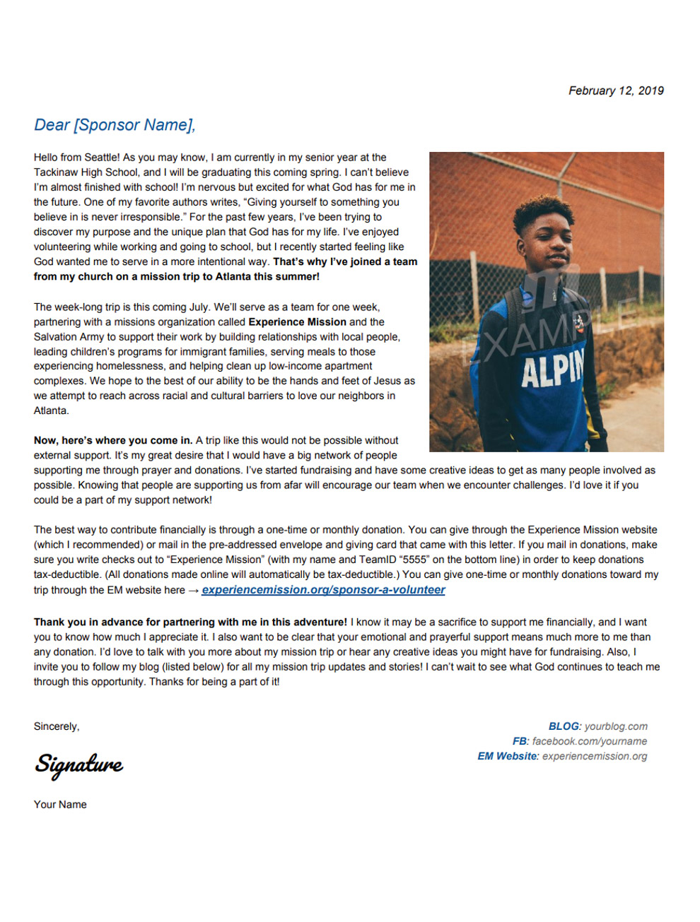 Mission trip support letter examples – clgss. Net.